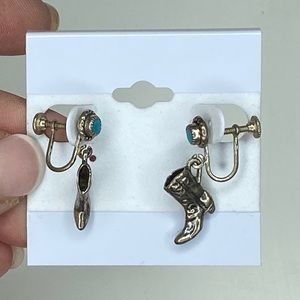 Vintage Sterling Silver Cowboy Boots Earrings